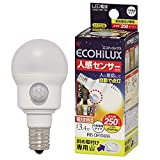 エコルクス 人感センサー LED電球 3.4W 電球色 斜め取付け LDA3L‐H‐E17SH 箱1個