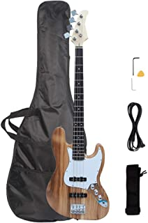 Waful Electric Bass Guitar، Starters Acoustic Bass Guitar Beginner Kit Full Size 4 String Alnico Pick Up Basswood Body with Bag Guitar، Straps، Line، Wrench for Starter Gift Right Right Black تبدیل آبی