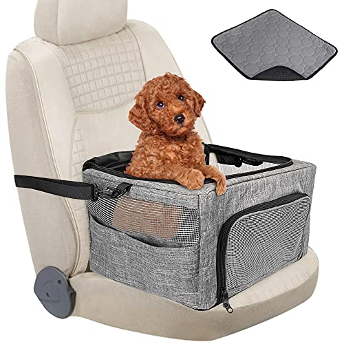 Nasjac Asiento de Seguridad para Perros, Asiento de Seguridad para el Refuerzo de Mascotas con Clip de Almohadilla para pisar con Marco de Metal Reforzado con Correa de Seguridad (Gris)
