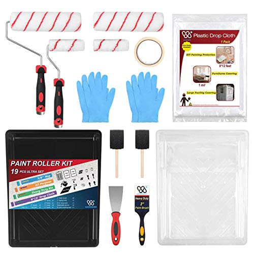 Paint Roller and Tray Set Paint Roller Kit with Tray Paint Roller Brush Set Paint Roller Kit 9 inch Paint Roller and Pan...