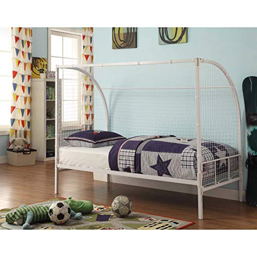 4D Concepts Soccer Bed in White Metal