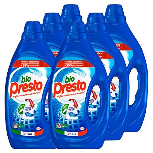 Bio Presto Liquido Classico Detersivo Lavatrice Liquido, Formula Potenziata - 6 x 19 Lavaggi (114 lavaggi)