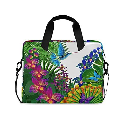 JNlover Tropical Leaves Bird Hummingbird Laptop Bag 16 inch, Portable Sleeve Briefcase Laptop Case Notebook Computer Carrying Case Bag for Women Men