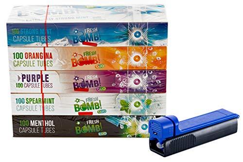 sunmondo Fresh Bomb Click Hülsen probier Paket mit Allen Sorten, Artic, Orange, Beere, Menthol, Pfefferminz inkl Gratis Stopfer