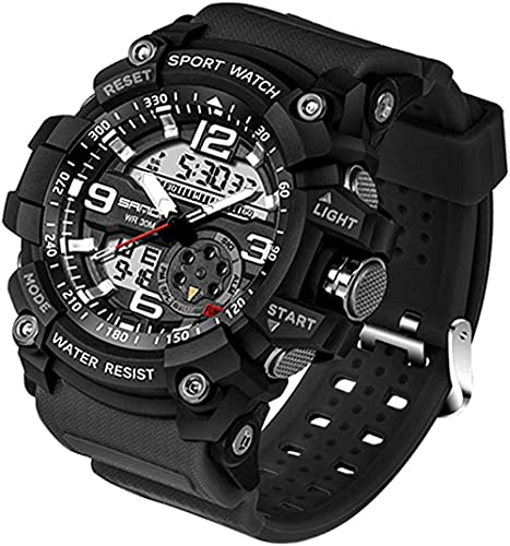 Men's Wristwatch Digital Analog Military and Sports Large dial Stopwatch LED Alarm Army Electronic Stopwatch-Black