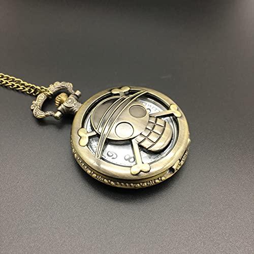 WDBUN Collar Colgante Reloj de Bolsillo Retro de Bronce con Calavera y Metal, Reloj Pirata Digital con Puntero abatible Navidad Día de la Madre Día de San Valentín cumpleaños Regalo