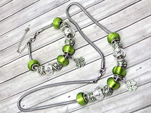 Thurcolas Juego de joyas de abalorios verdes para mujer de acero inoxidable...