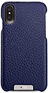 Vaja Grip Leather Case for iPhone X - Hard Polycarbonate Frame, Wireless Charging Compatible - Floater Crown Blue