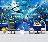 Papel Pintado Pared Pasaje De Vidrio Para Tiburones De Acuario Fotomurales 3d Papel Pintado Dormitorio Decorativos Murales Wallpaper Fondo Decoración de Pared 250x175cm