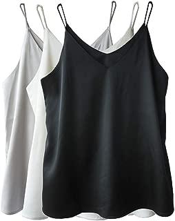 Wantschun Womens Silk Satin Camisole Cami Plain Strappy Vest Top T-Shirt Blouse Tank Shirt V-Neck Spaghetti Strap XXS-4XL
