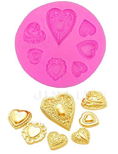Siliconen mal voor voedsel gebruik van 7 gestileerde harten - suikerpasta - fondants - cakes - pannenkoeken - muffins - decoraties