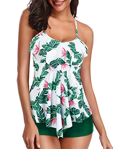 Holipick Women Green Leaf Tankini Swimsuits Layered Ruffle Flounce Tankini Top with Boyshort Two Piece Bathing Suits XL
