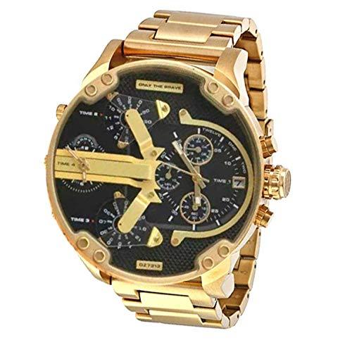 Dz7315 - Reloj de Pulsera de Hombre de Moda Big Dial de Acero Inoxidable con Reloj de Cuarzo Business Watch (Banda de Oro Shell) (Togames)