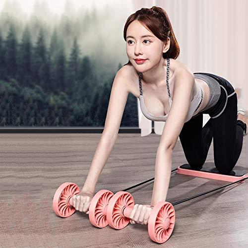 Weiblich Zuhause Fitness Walze Bauchmuskeltraining Runde Ab Roller Bauch Kern Krafttraining Heimtrainingsgeräte Heimtrainer Fitnessgeräte,Rosa