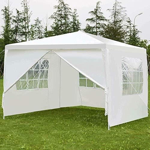 Gazebo branco de 3 x 3 m para festa ao ar livre Gazeebo barraca com laterais para parede resistente fantástica