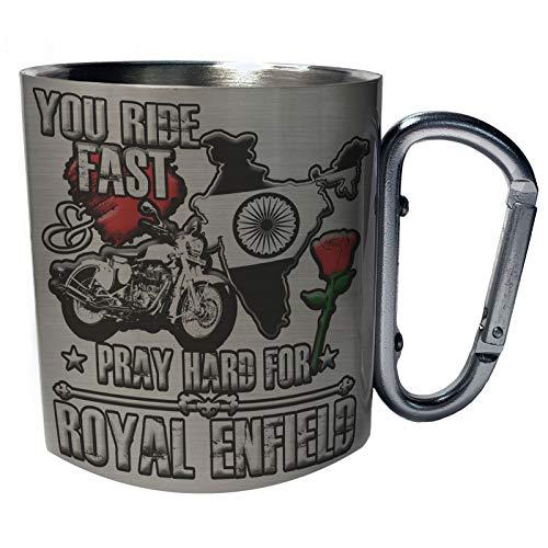 Sie fahren schnell Royal Enfield Edelstahl Karabiner Reisebecher 11oz Becher Tasse aa246c