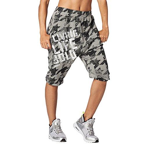Zumba Fitness Aktiv Weicher Stoff Haremshose Damen Stilvoll Workout Hippie Hose, Thunderin' Gray 2, S