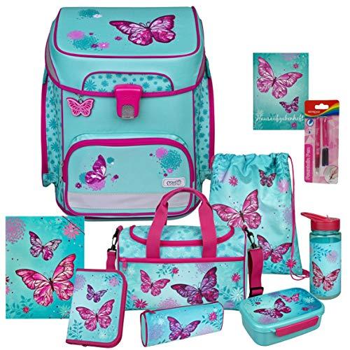 Butterfly - Schmetterling - SCOOLI Undercover EasyFit Schulranzen-Set 11tlg. mit Sporttasche, BROTDOSE, TRINKFLASCHE und GUMMIZUGMAPPE A4 - HAUSAUFGABENHEFT und FÜLLER GRATIS