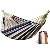 CJ Ultra Double Brazilian Hammock - XL Wide Two Person Soft Woven Cotton Fabric - Long Hamaca Swing Bed for Backyard Patio or Porch - Outdoor or Indoor - Includes 2 Hanging Tree Ropes (Brown Striped)