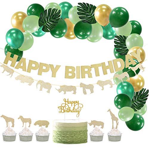 SUNBEAUTY Dschungel Geburtstag Dekoration Happy Birthday Girlande Gold Kindergeburtstag Tiere Kuchendeko Safari Palmblättern Luftballons Grün