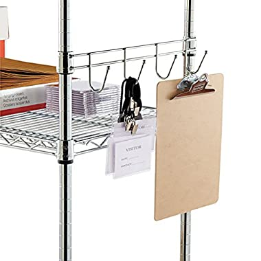Alera ALESW59HB418SR Hook Bars For Wire Shelving, Four Hooks, 18  Deep, Silver (Pack of 2 Bars)