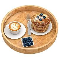 Zhuoyue ラウンドサービングトレイ ハンドル付き 木製竹製サークルトレイ コーヒーテーブル 食品 オットマン用