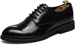 Pcc001 Men's Fashion Oxford Casual Easy Simple Carven Breathable Brogue Shoes Pcc001 (Color : Black, Size : 44 EU)
