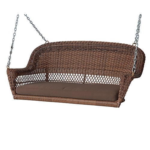 Jeco W00207S-D-FS007 Wicker Porch Swing, Black