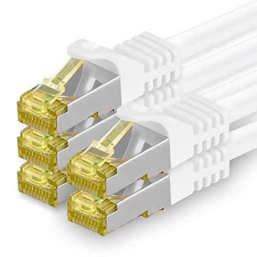 1aTTack.de Cat.7 Netzwerkkabel 2m Weiß 5 Stück Cat7 Ethernetkabel Netzwerk LAN Kabel Rohkabel 10 Gb s SFTP PIMF LSZH Set Patchkabel mit Rj 45 Stecker Cat.6a