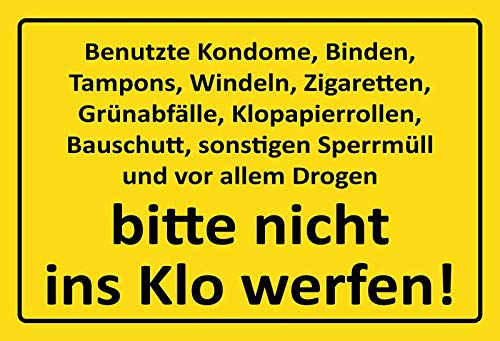 Metalen bord gebruik condoom, binden. - Nicht ins Wlo gooien tin Sign 20x30cm