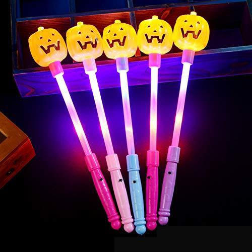 Varita LED, Palo De Flash De Calabaza De Halloween con 3 Pilas De Botn para Nias Suministro Fiesta Cumpleaos Disfraz Navidad, Longitud 34 CM