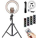 Donpow Anillo de luz de 10 con luz LED de trípode Ajustable, Control Remoto RGB de 4 Modos con Soporte de lámpara y Diapositiva, Adecuado para cámara, Video para Youtube, Selfie, grabación de Video