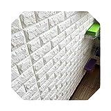 保育室用| 3Dレンガの壁のステッカーの壁紙の装飾の泡防水壁カバー壁紙キッズリビングルームDIY背景-ホワイト-60 X 7.5 X 0.85cm