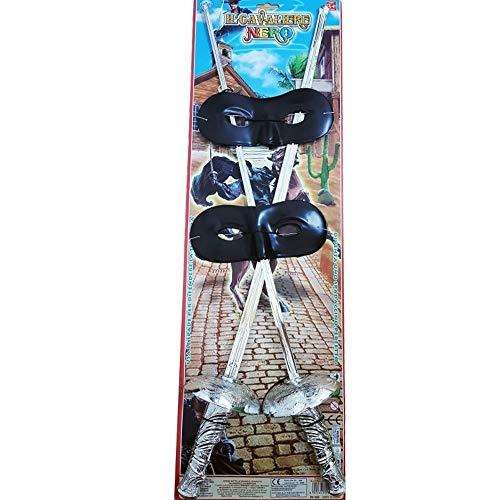 TrAdE Shop Traesio- Kit Zorro 2 Spade 2 MASCHERINE Cavaliere Spada SCIABOLE Katana Carnevale Gioco