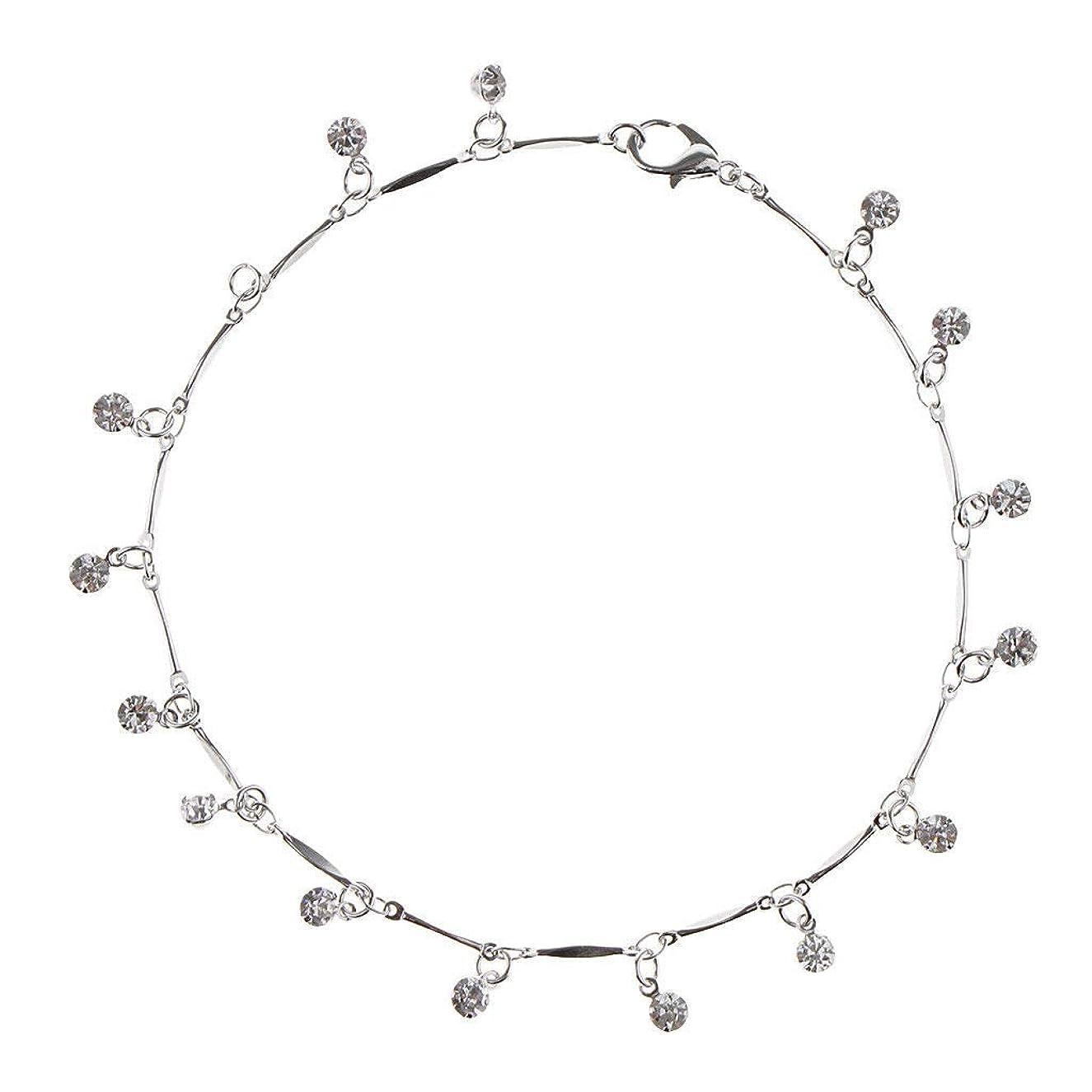 25.5cm Womens Silver Rhinestone Crystal Anklet Bracelet Jewelry Accessory