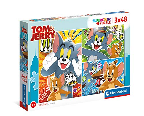 Clementoni Tom and Jerry Supercolor Jerry-3x48 (3 48 pezzi) -Made in Italy, puzzle bambini 4 anni+, Multicolore, 25265