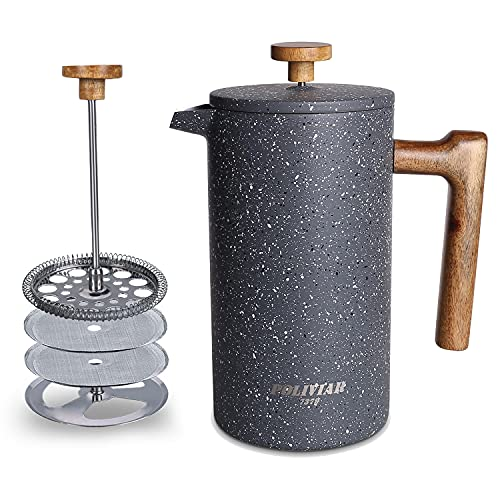 POLIVIAR French Press Coffee Maker, 34 Ounce Coffee Press with Teak Wood Handle, Double Wall Insulation & Dual-Filter Screen, Food Grade Stainless Steel for Good Coffe and Tea (Lava)