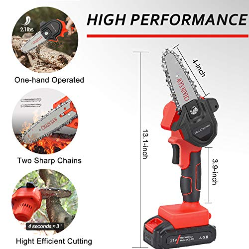 Upgraded Mini Chainsaw, 4-Inch Cordless Chainsaw Portable Lightweight Lithium Battery Chain Saw with Certified Power Adapter for Courtyard Tree Branch Wood Cutting (2 Chains)