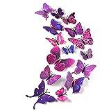 TUPARKA 36 Pièces 3D Papillon Stickers Muraux Mur Papillons Filles Accessoires de...