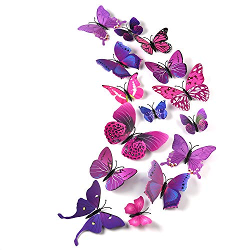TUPARKA 36 Pieces 3D Butterfly Wall Stickers Wall Butterflies Girls Bedroom Accessories Multi-Color Optional (Purple)