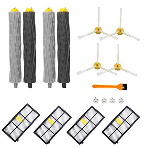 ARyee Kit d'accessoires de rechange pour aspirateur iRobot Roomba 805 860 870 871 880 890 960 980 Pièces de rechange avec 2 extracteurs 4 filtres 1 petite brosse 4 brosses latérales et vis