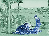 ArtVerse HOK080A3648A Japanese Courtesan Wood Block Print In Green and Blue Removable Art Decal 36 x 48 [並行輸入品]