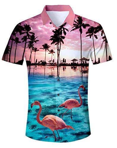 Idgreatim Herren Hawaiihemd 3D Printed Galaxy T Hemden Shirt Männer Coole Grafik Hemden Shirts