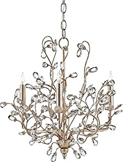 Currey & Company Bud Chandelier Crystal 3-Light Small Silver Granell
