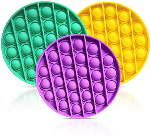 Push pop pop Bubble Sensory Fidget Toy, Autism Special Needs Stress Reliever Silicone Stress Reliever Toy, Squeeze Sensory Toy for Kid and Adult (GreenYellowPuprle)