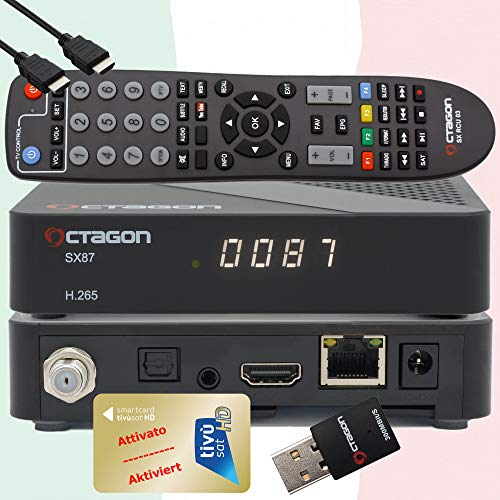 TiVuSat HD Gold Karte aktiviert mit vorprogrammiertem Sat TV Receiver Octagon SX87 HD H.265 S2+IP HEVC Set-Top Box - Mediaplayer, WebRadio, iOS & Android App, USB PVR, 300Mbit WiFi + EasyMouse HDMI