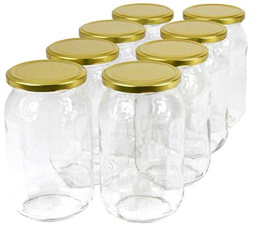 Wamat 900 ml Einweckgläser mit Deckel Gold Einmachgläser Vorratsgläser Einmachglas Weck (Menge: 24 Stück)