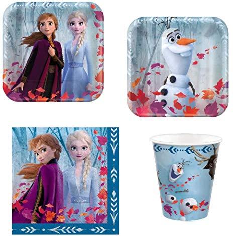 Disney Frozen Elsa & Anna Value Pack Fiesta de cumpleaños para 8 invitados (platos, tazas, servilletas)