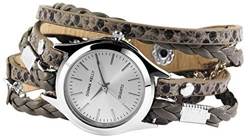 Donna Kelly Damenuhr analog Armbanduhr Silberfarbig Quarzwerk und Metallgehäuse rund 28mm x 8mm Kunstlederarmband Grau 56,5cm x 14mm Druckknopf und Ziffernblatt in silberfarbig 191621500002
