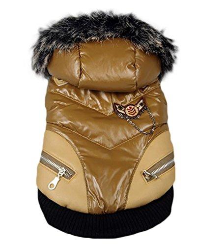 YiJee Kleine Hunde Kleidung Hupentasten Wintermantel mit Kapuze Reißverschluss Hundejacke Braun M